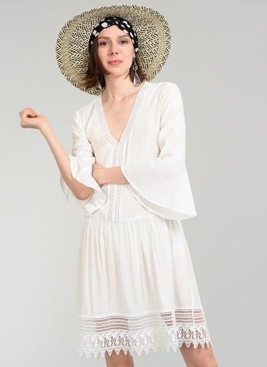 People By Fabrika Dantelli Elbise Beyaz